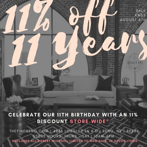 Celebrate 11 Years at The Find with 11% Off!